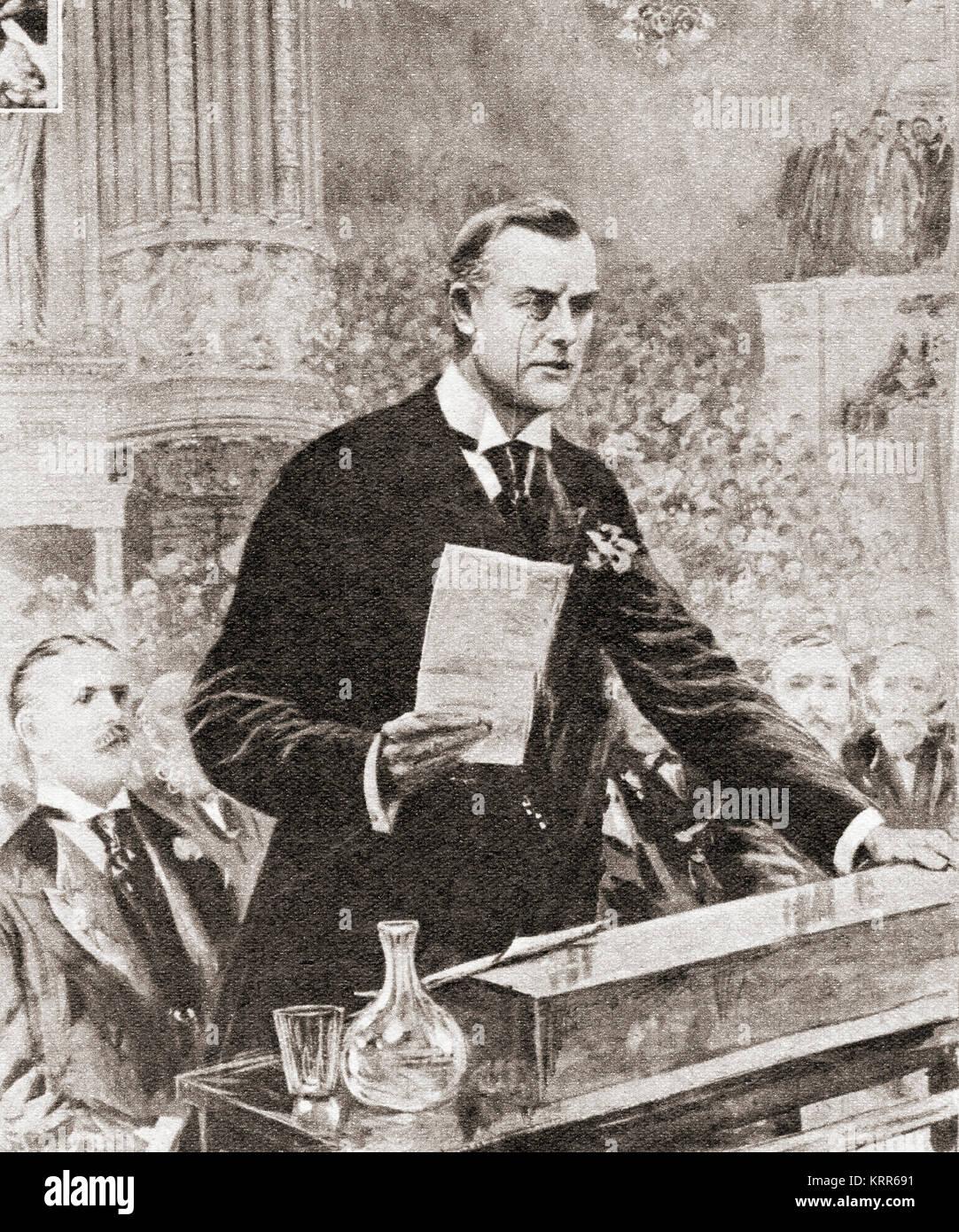 The inaugural speech of Joseph Chamberlain in Glasgow, Scotland, 1903.  Joseph Chamberlain, 1836 –1914.   British - Stock Image