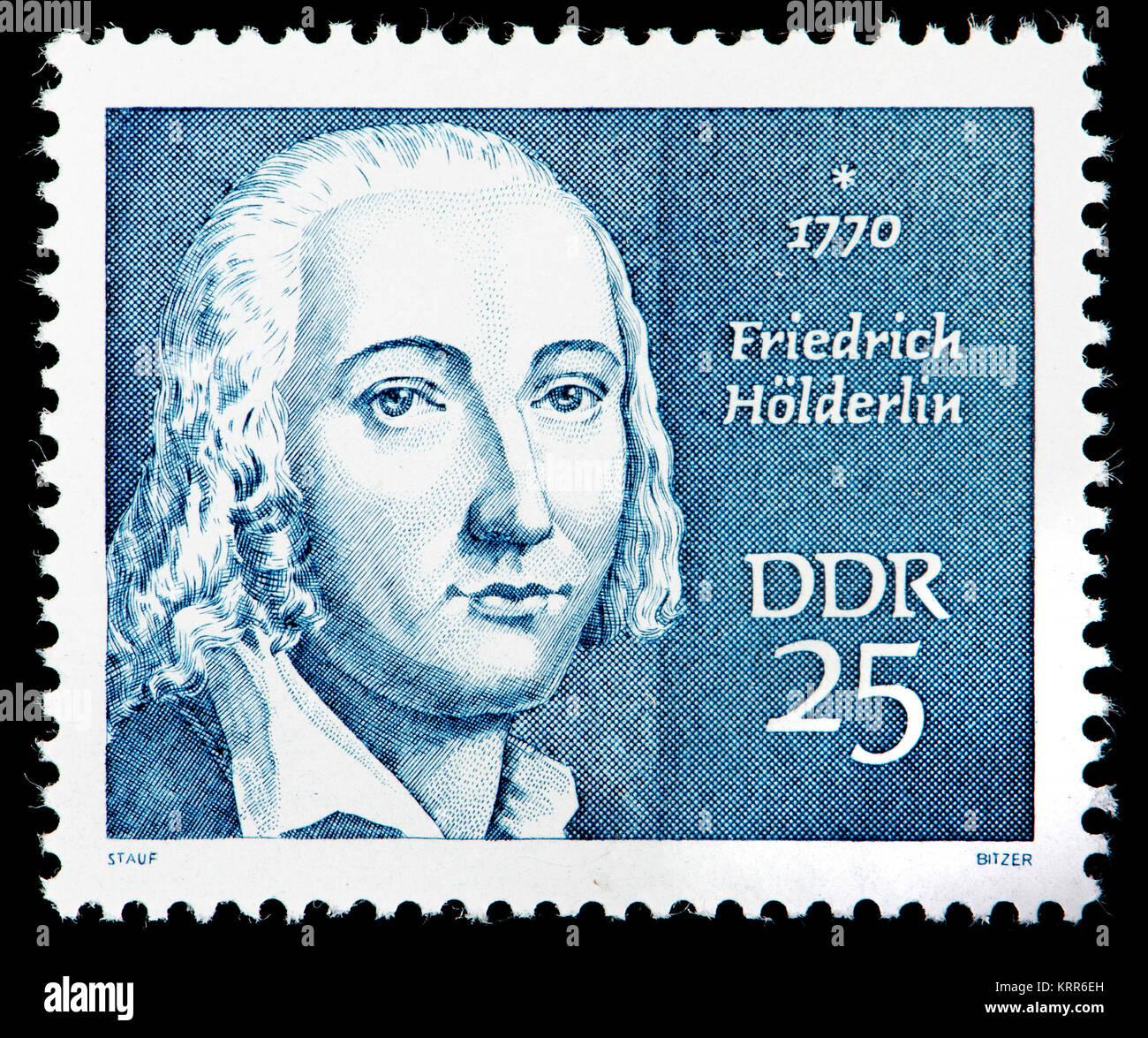 East German (DDR) postage stamp (1970): Friedrich Holderlin (1770 – 1843) German poet - Stock Image