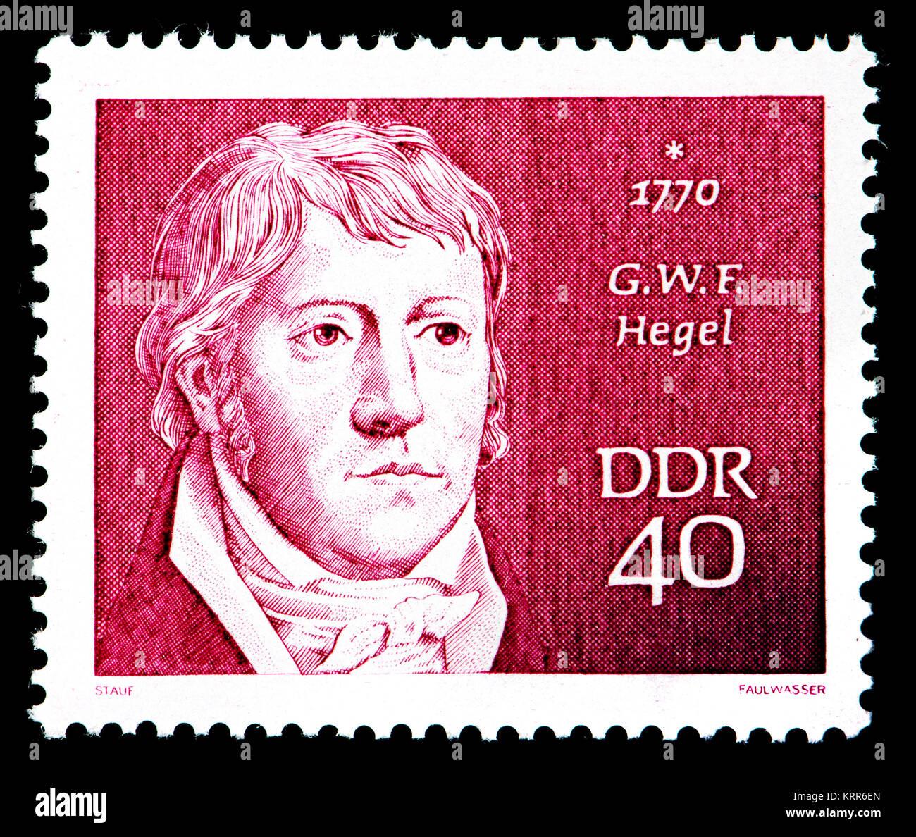 East German (DDR) postage stamp (1970): Georg Wilhelm Friedrich Hegel (1770 – 1831) German philosopher - Stock Image