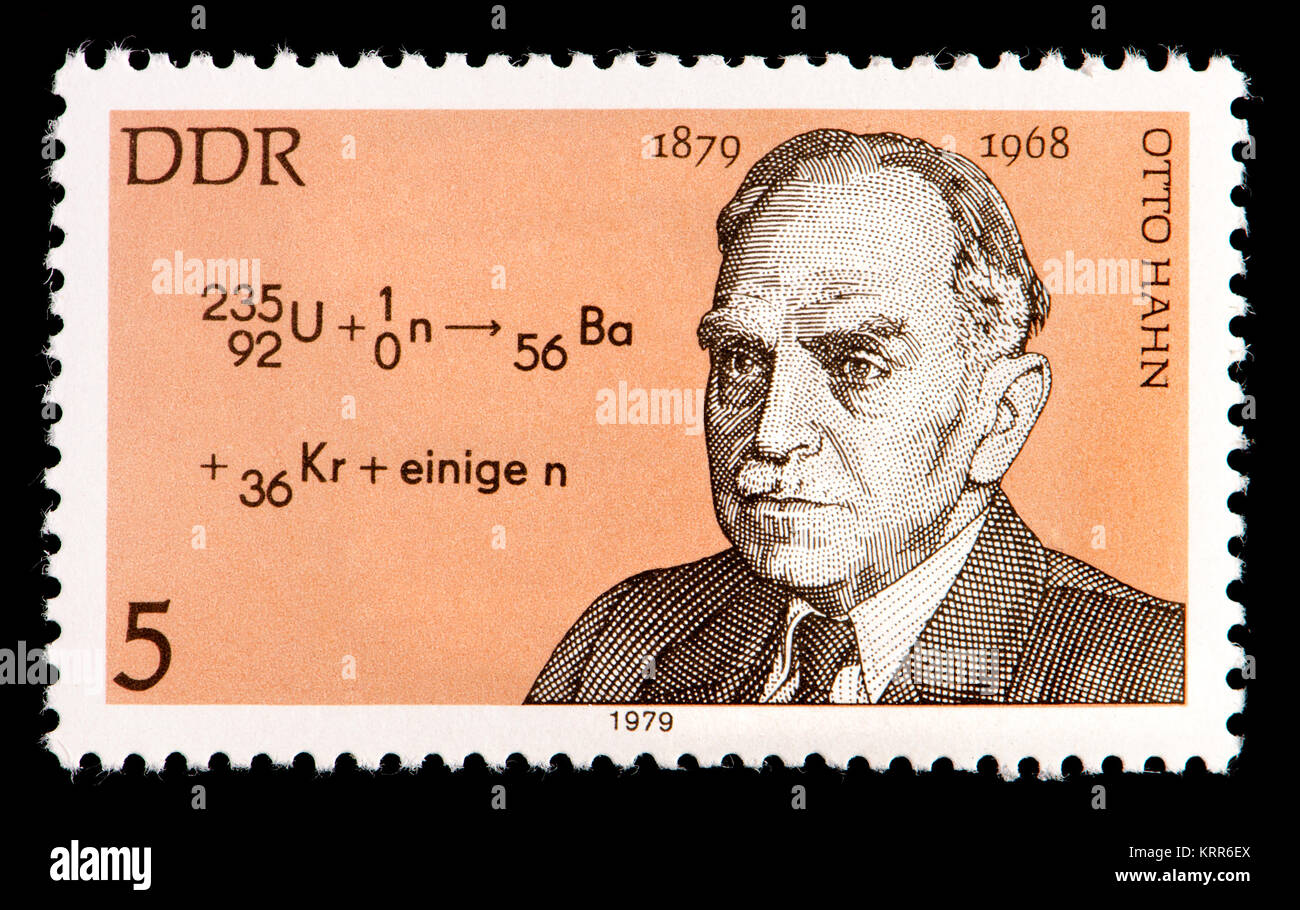 East German (DDR) postage stamp (1979): Otto Hahn (1879 – 1968) German chemist and pioneer in the fields of radioactivity Stock Photo