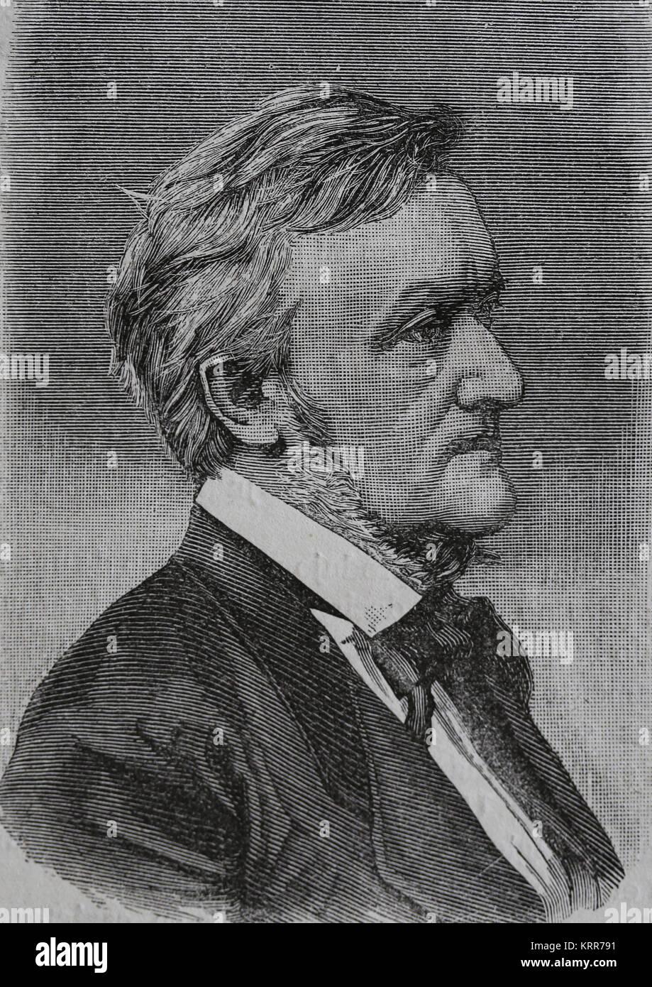 Richard Wagner (1813-1883). German composer. Portrait. Engraving, 1883. - Stock Image