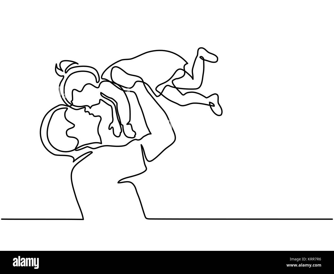 Father holding happy daughter up in air - Stock Image