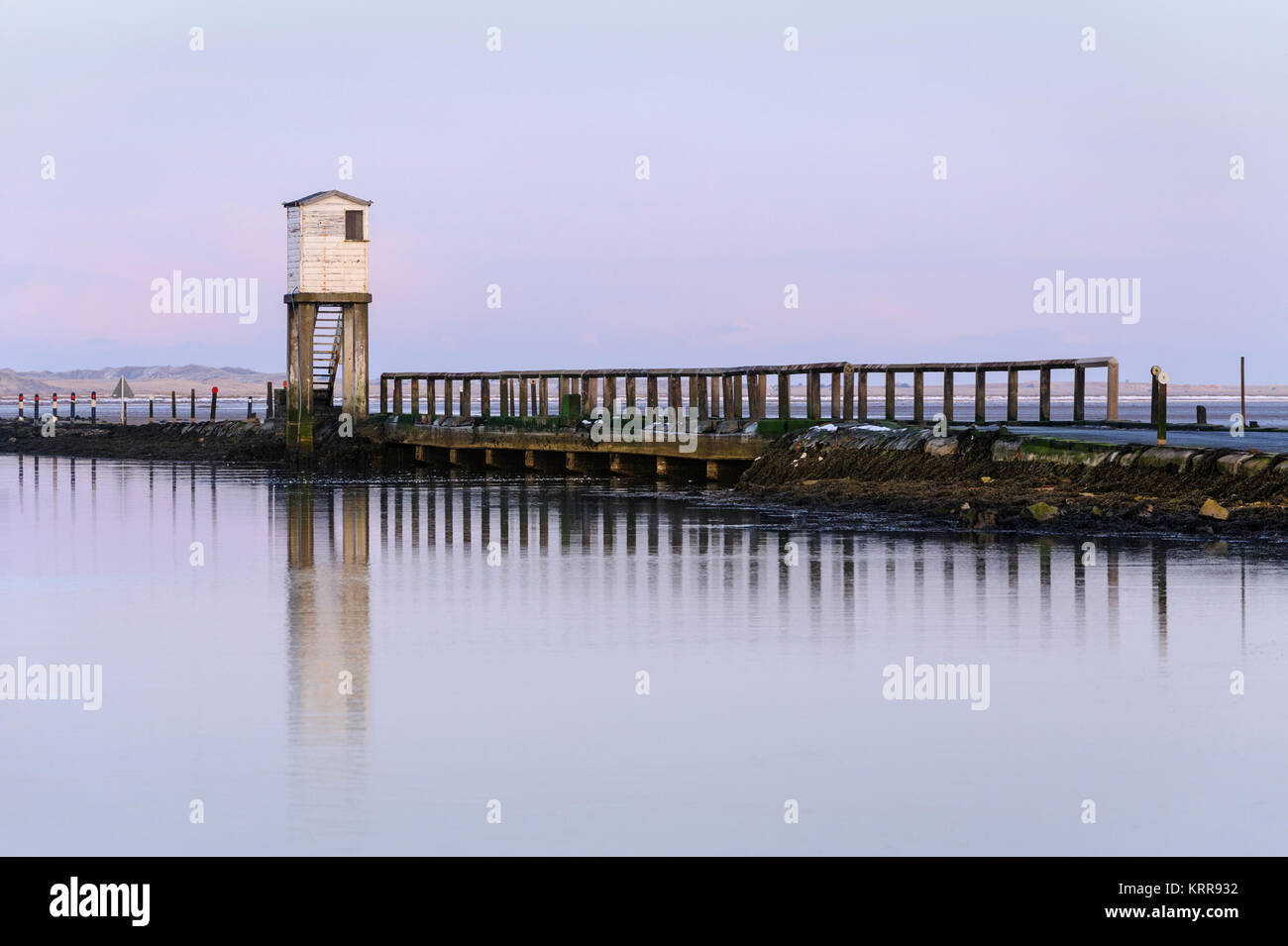 Lindisfarne Causeway refuge tower a place of safety in event of incoming tide on route to Holy Island - Stock Image