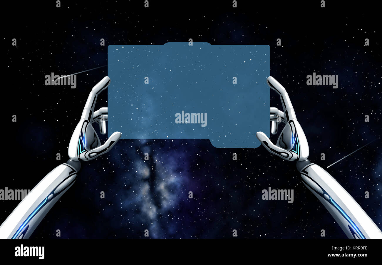 Robot hands with tablet pc over space background stock photo robot hands with tablet pc over space background voltagebd Images