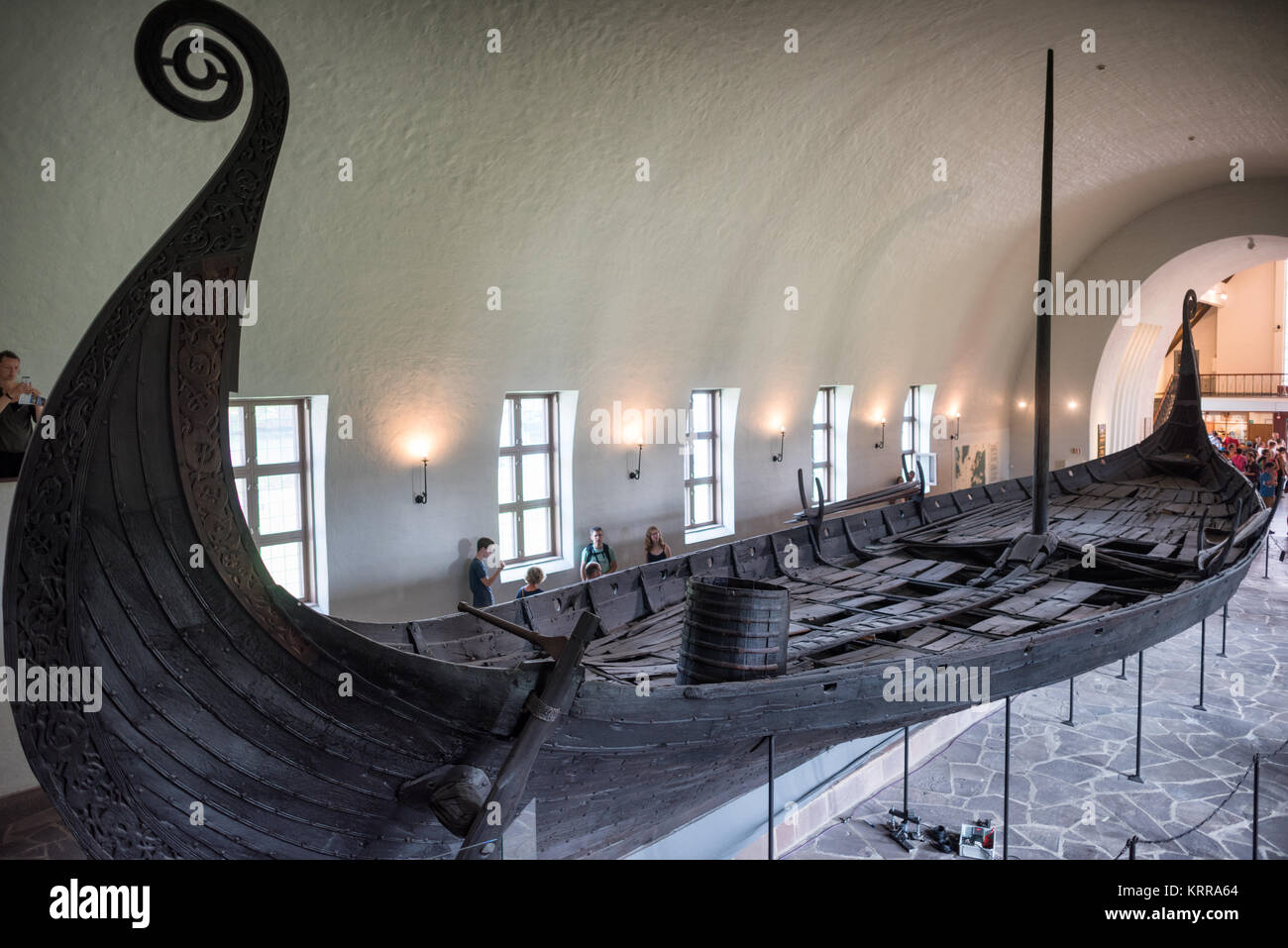 OSLO, Norway - The Oseberg ship is an extraordinarily well-preserved Viking boat that is one of the highlights at - Stock Image