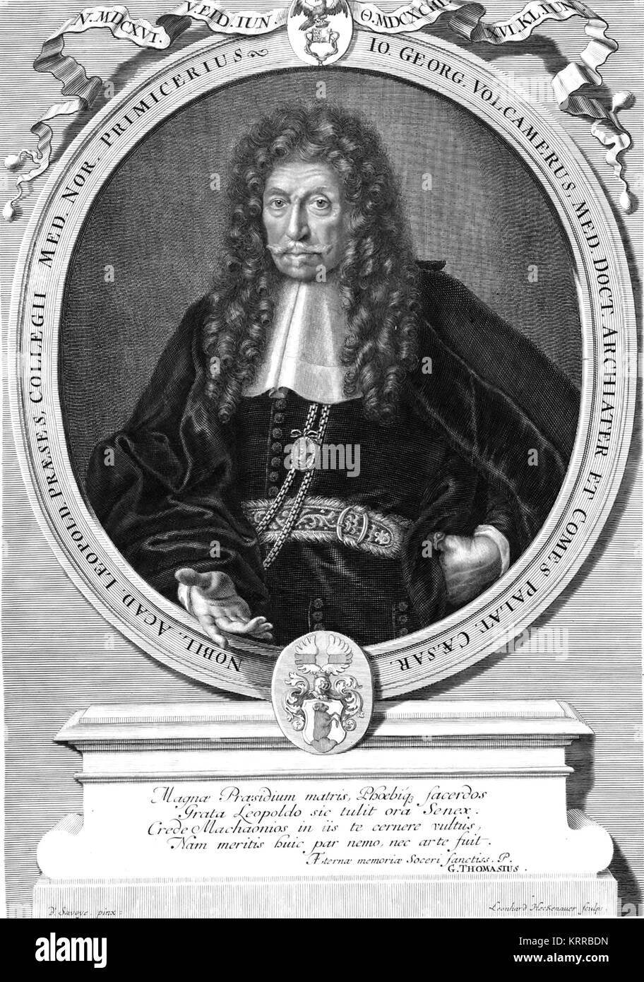 JOHANN GEORG VOLCKAMER (1616-1693) German physician - Stock Image