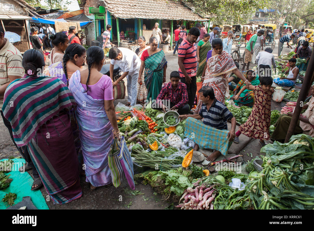 Vegetable market in the Garia district of Kolkata, India - Stock Image