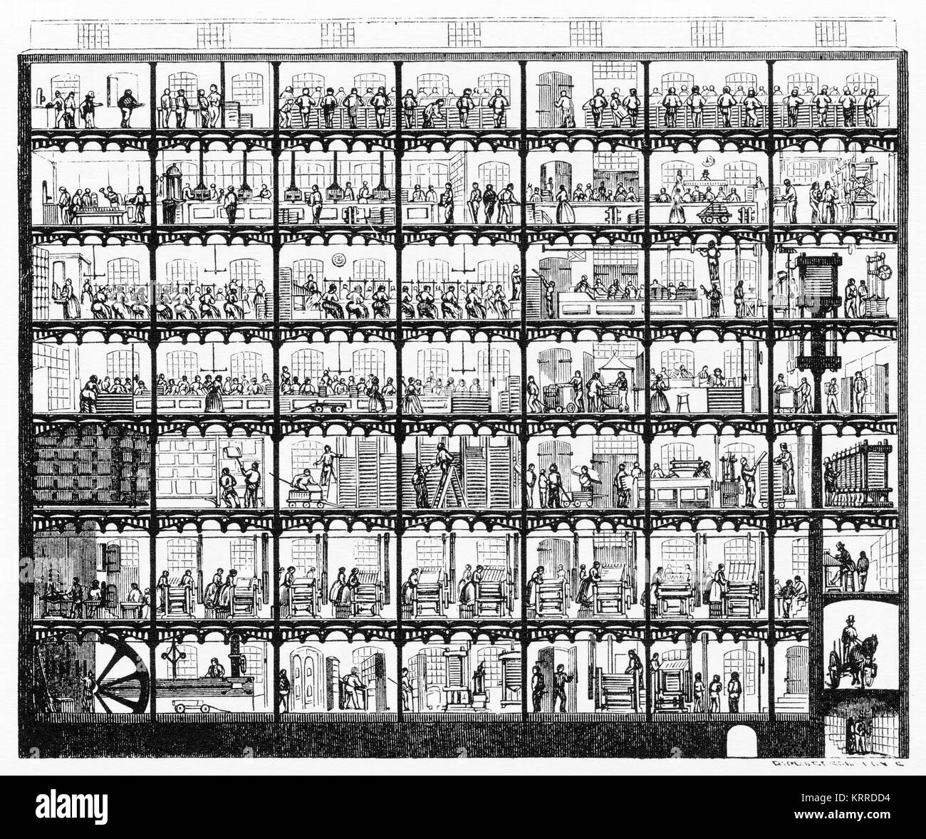 Engraving of a cross section through the building of a printing company in New York, showing the various stages of printing and finishing. Stock Photo