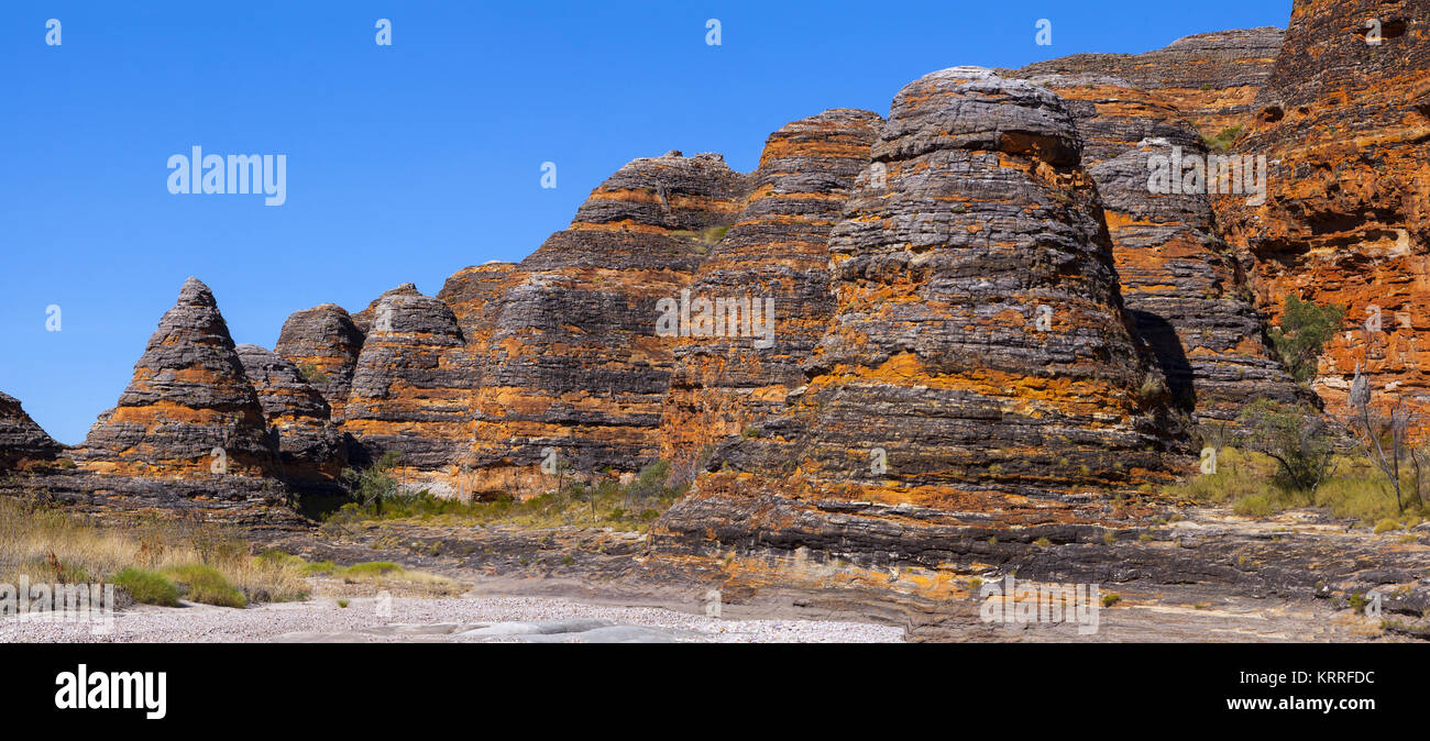 The conical beehive formations of the Bungle Bungles, Purnululu National Park, Western Australia, Australia: A stunning - Stock Image