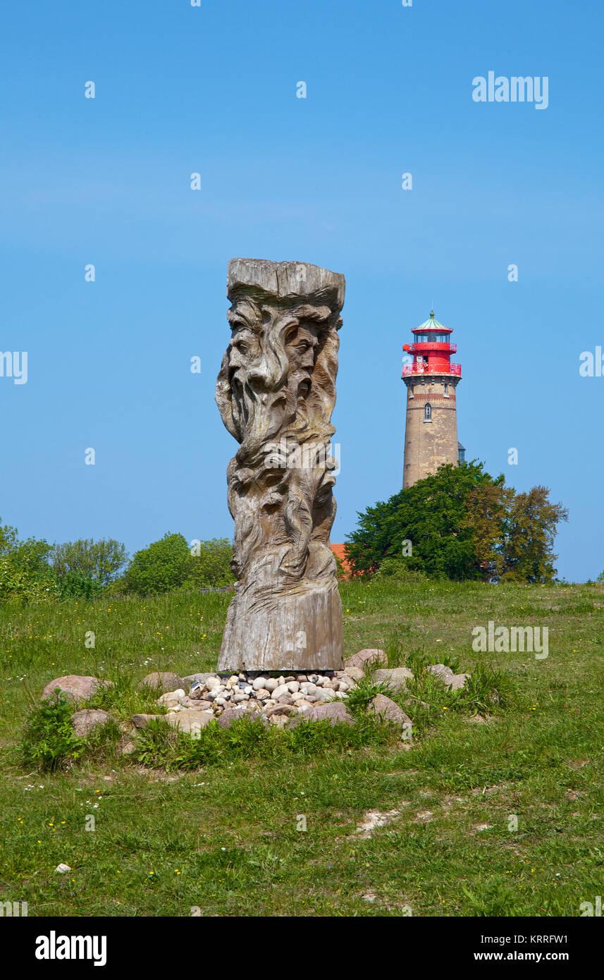 Svantovit, slavic god sculpture at the slavic castle, new lighthouse at Cape Arkona, North cape, Ruegen island, Stock Photo