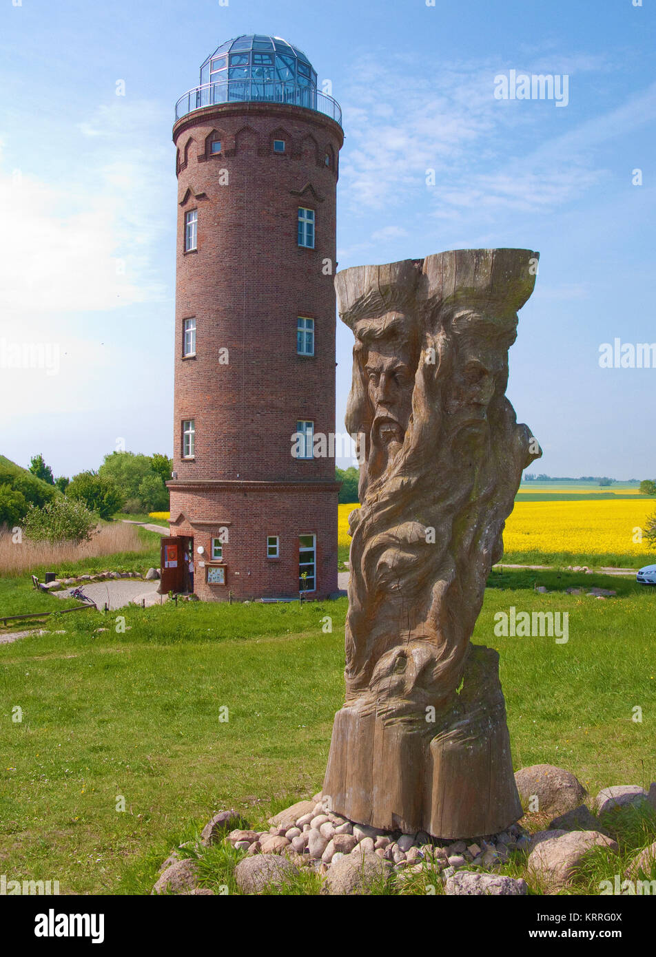 Svantovit, slavic god sculpture at the slavic castle, bearing tower, Cape Arkona, North cape, Ruegen island, Mecklenburg Stock Photo