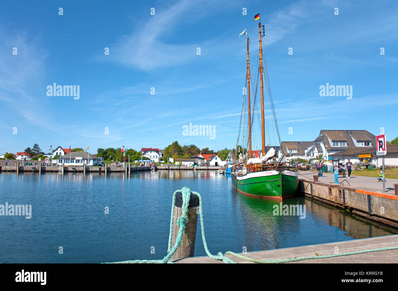 Brigantine at harbour of village Vitte, Hiddensee island, Mecklenburg-Western Pomerania, Baltic Sea, Germany, Europe - Stock Image