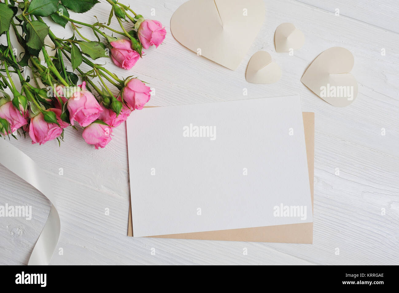 Mockup Letter White Origami Hearts Made Of Paper With Pink Roses Card For Valentines Day Flat Lay Top View A Place Your Text