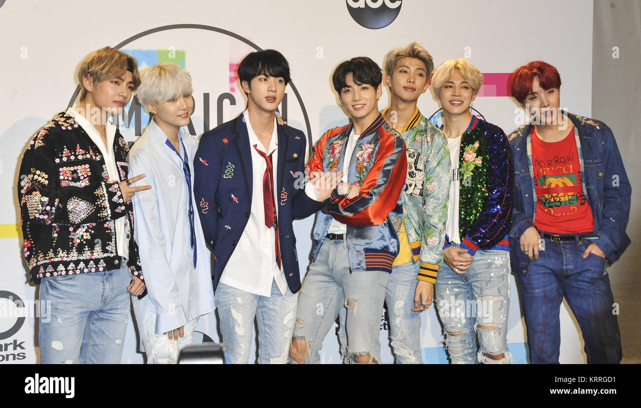 The 2017 American Music Awards pressroom  Featuring: BTS Where: Los Angeles, California, United States When: 20 - Stock Image