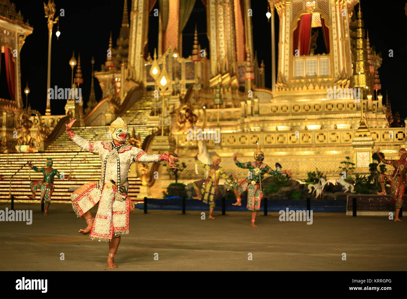 Khon performance high art dance show in front of King Rama IX Crematorium pyre site.  Thailand, Bangkok, December - Stock Image