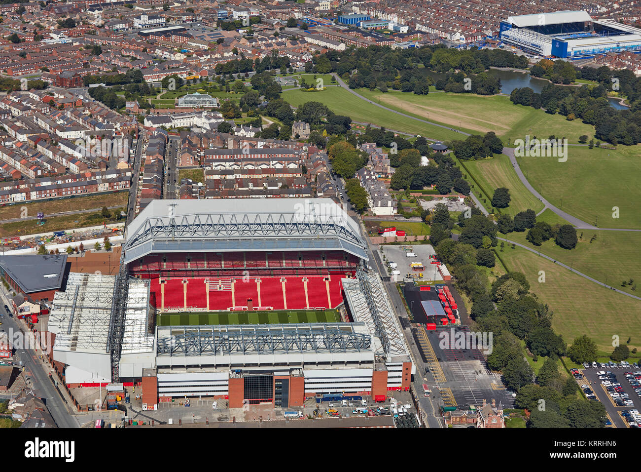 An aerial view of Liverpool showing Anfield in the foreground and Goodison Park in the background Stock Photo