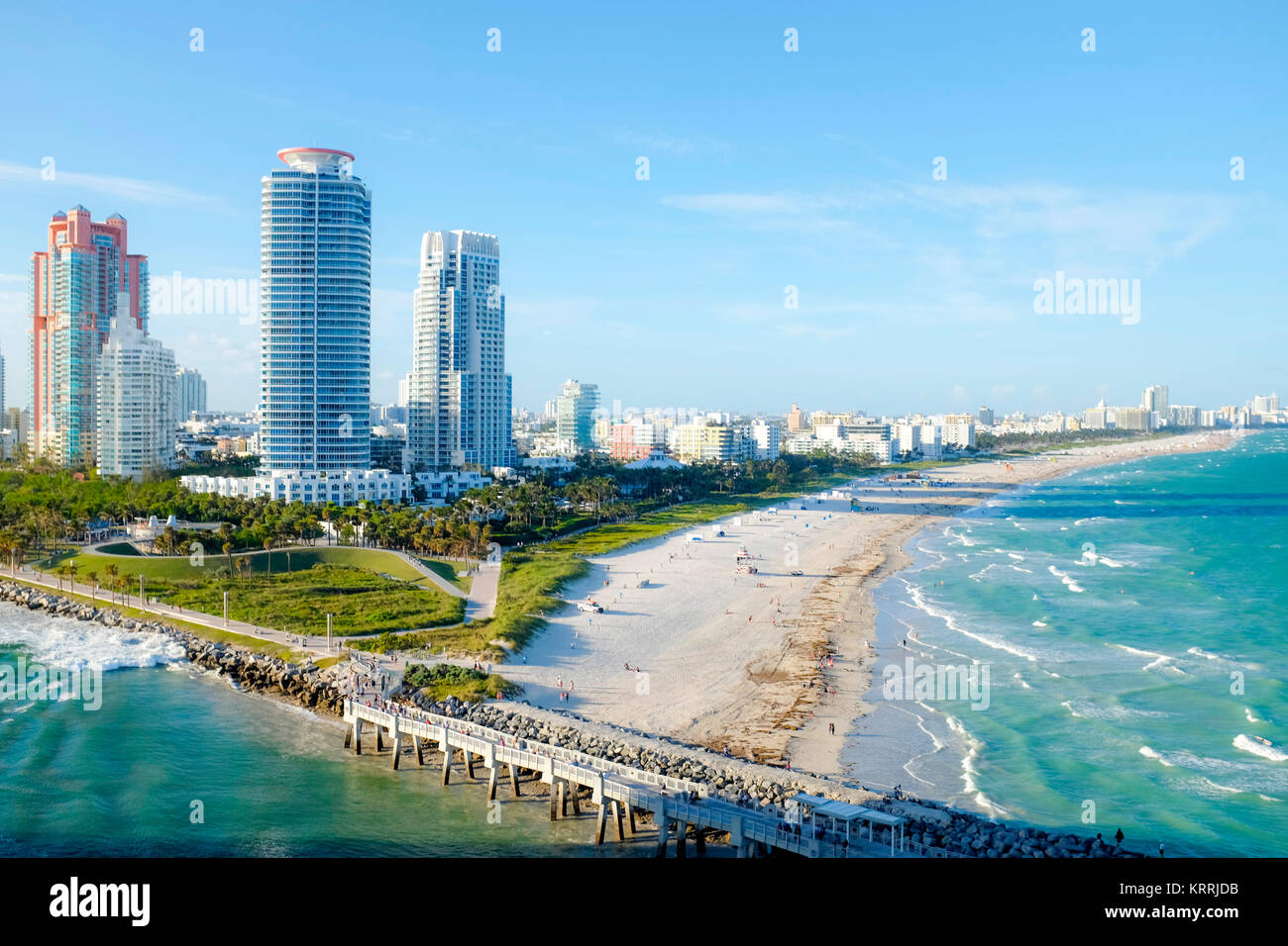 Aerial view of South Miami Beach with luxury apartments and buildings. - Stock Image