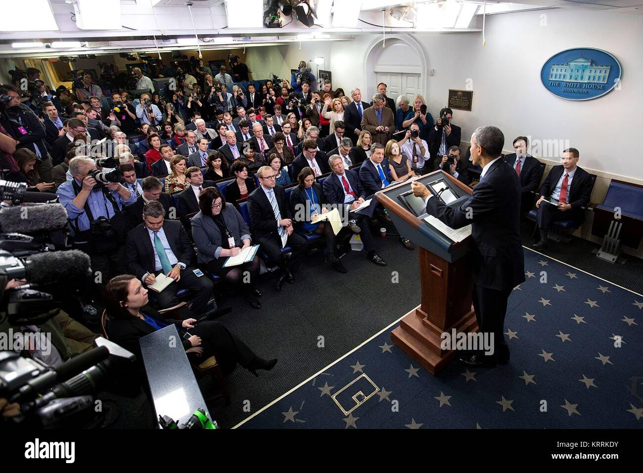 U.S. President Barack Obama holds his final press conference at the White House Press Briefing Room January 17, - Stock Image