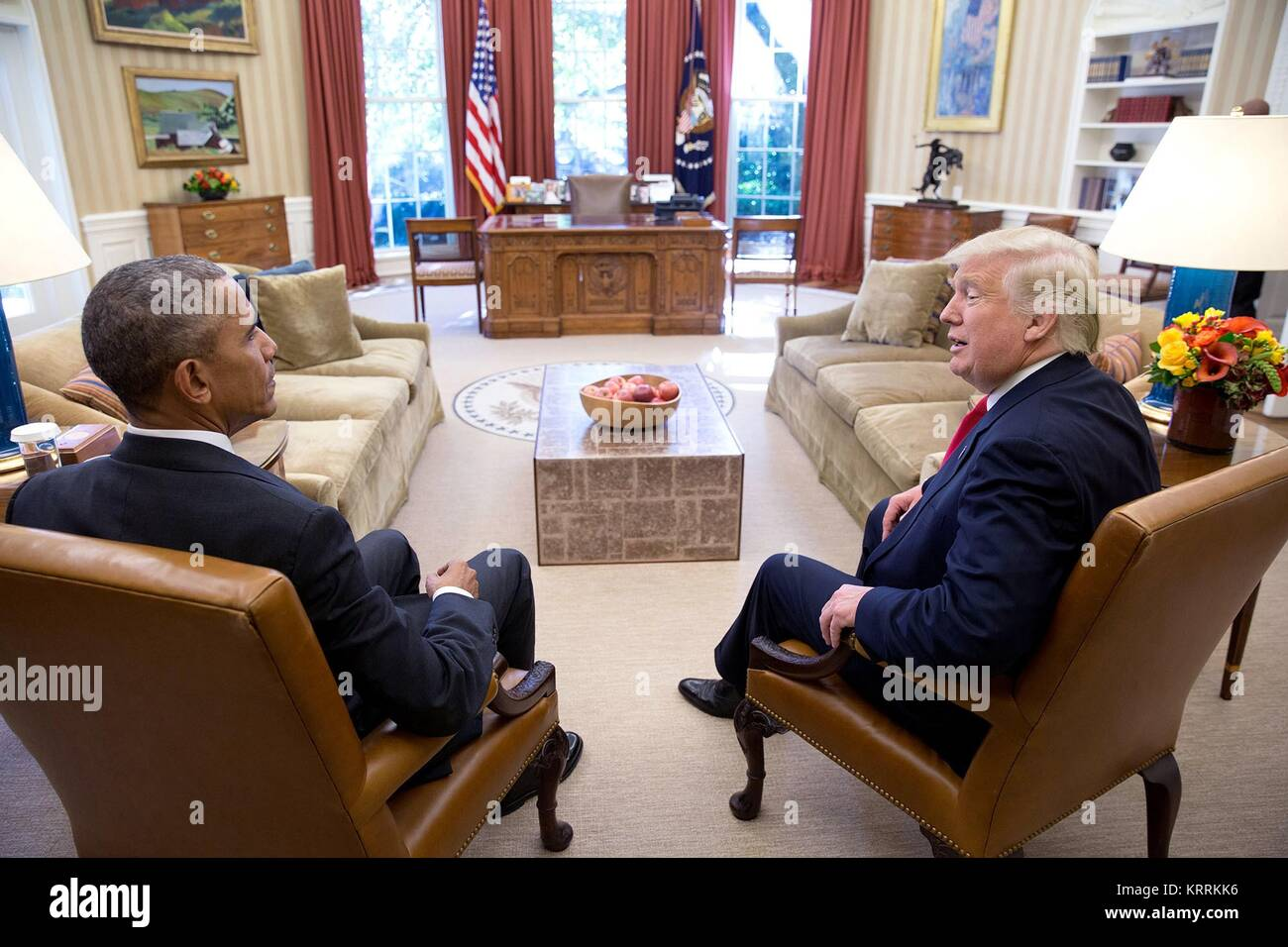 U.S. President Barack Obama meets with U.S. President-elect Donald Trump in the White House Oval Office November - Stock Image