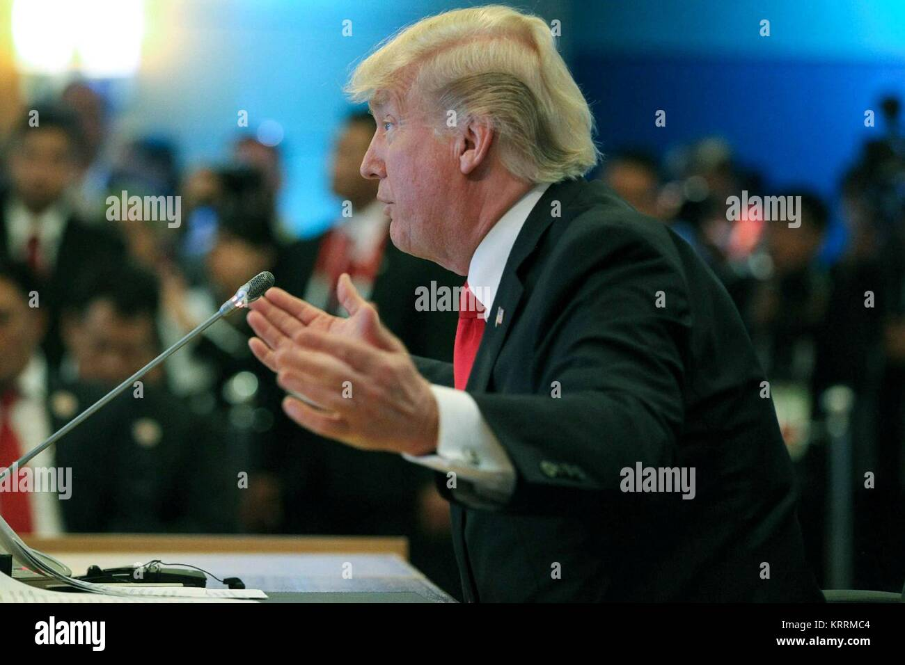 U.S. President Donald Trump speaks during the 5th Association of Southeast Asian Nations (ASEAN)-U.S. Commemorative - Stock Image