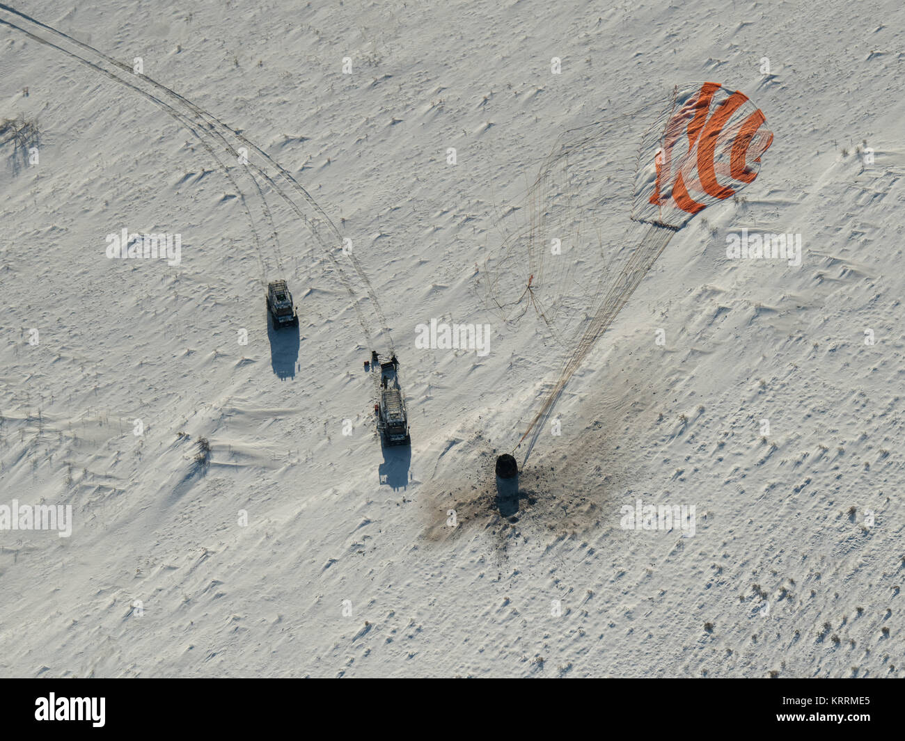 The NASA International Space Station Expedition 53 Soyu MS-05 spacecraft lands in the sand December 14, 2017 in - Stock Image