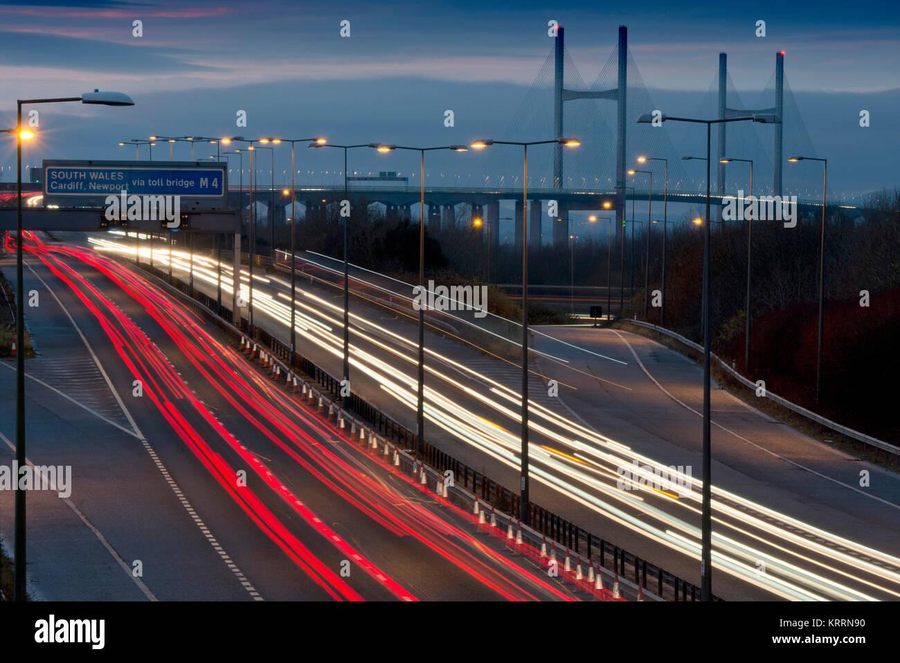 M4 motorway looking toward the Severn Bridge (Second Severn Crossing) leading to Wales - Stock Image