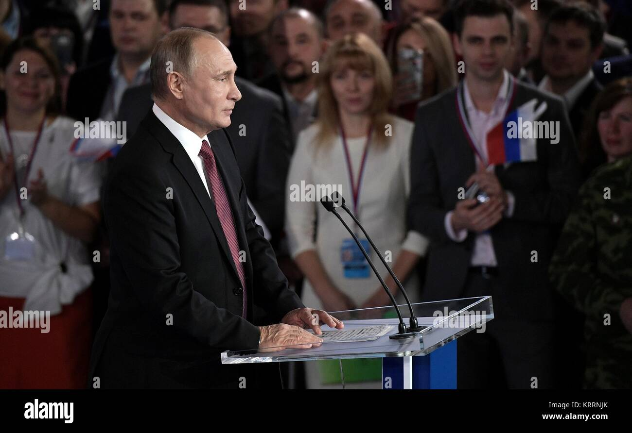 Russian President Vladimir Putin addresses the All-Russia People's Front movement kicking off his campaign for re Stock Photo