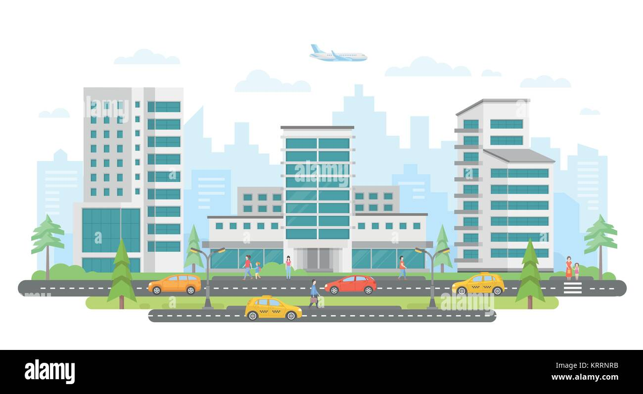 Busy street - modern colorful flat vector illustration - Stock Image
