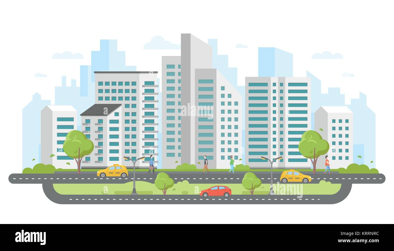 Modern city - colorful flat design style vector illustration - Stock Vector