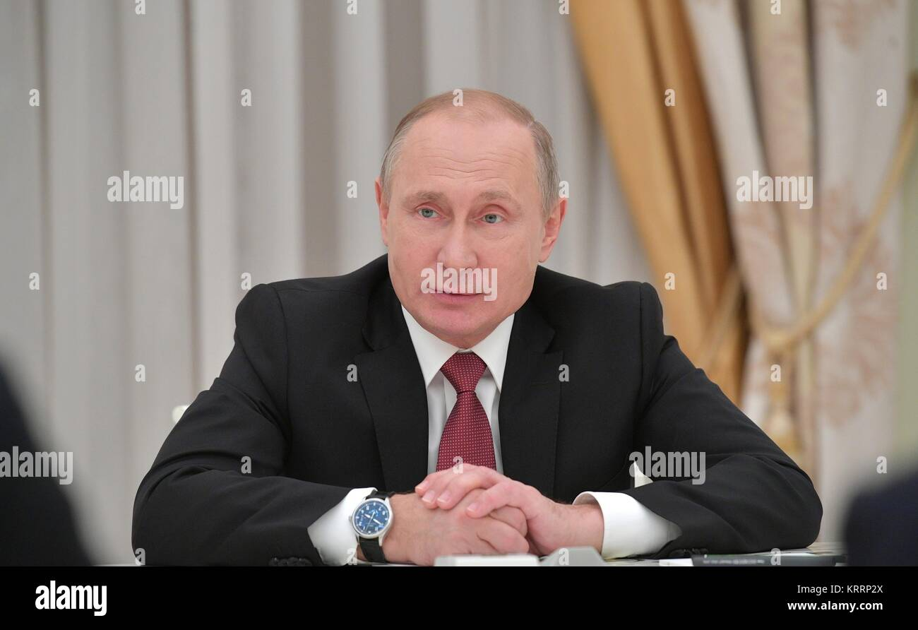 Russian President Vladimir Putin holds a meeting with the Commonwealth of Independent States security services at - Stock Image