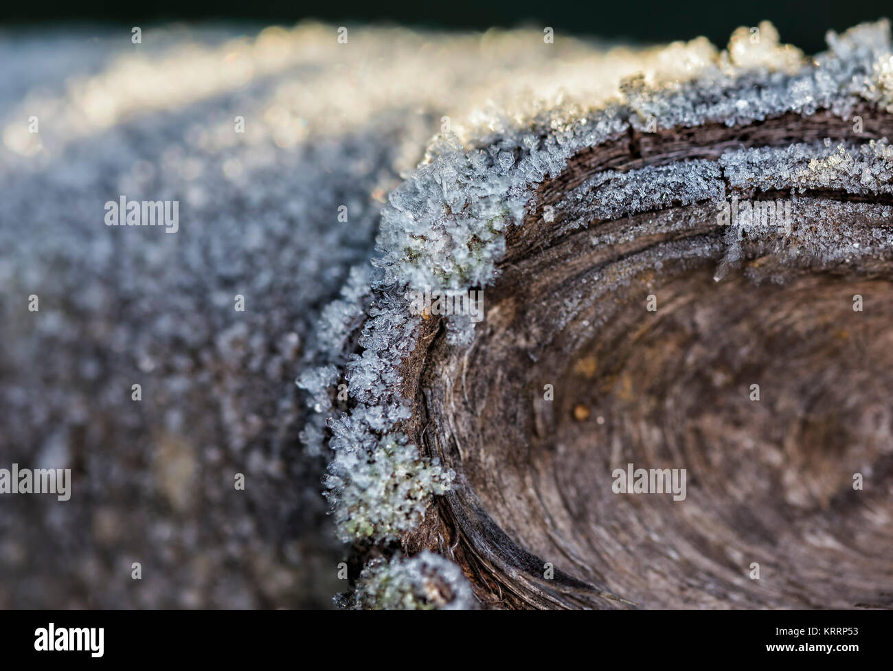 Natural ice photographed on wood after a cold night. - Stock Image