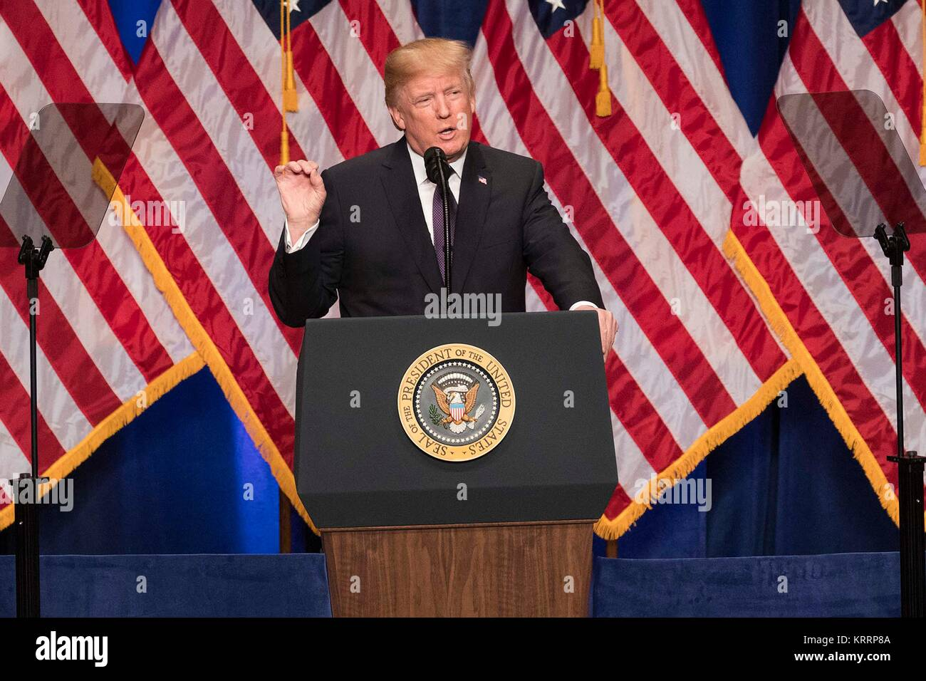 U.S. President Donald Trump speaks during the unveiling of his national security strategy December 18, 2017 in Washington, - Stock Image