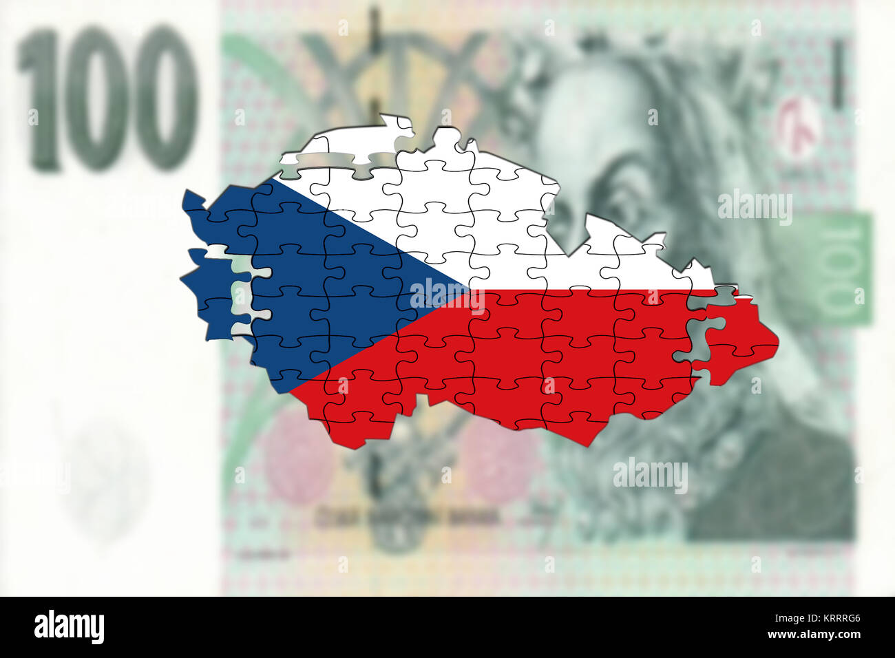 czech republic map on 100 korun money