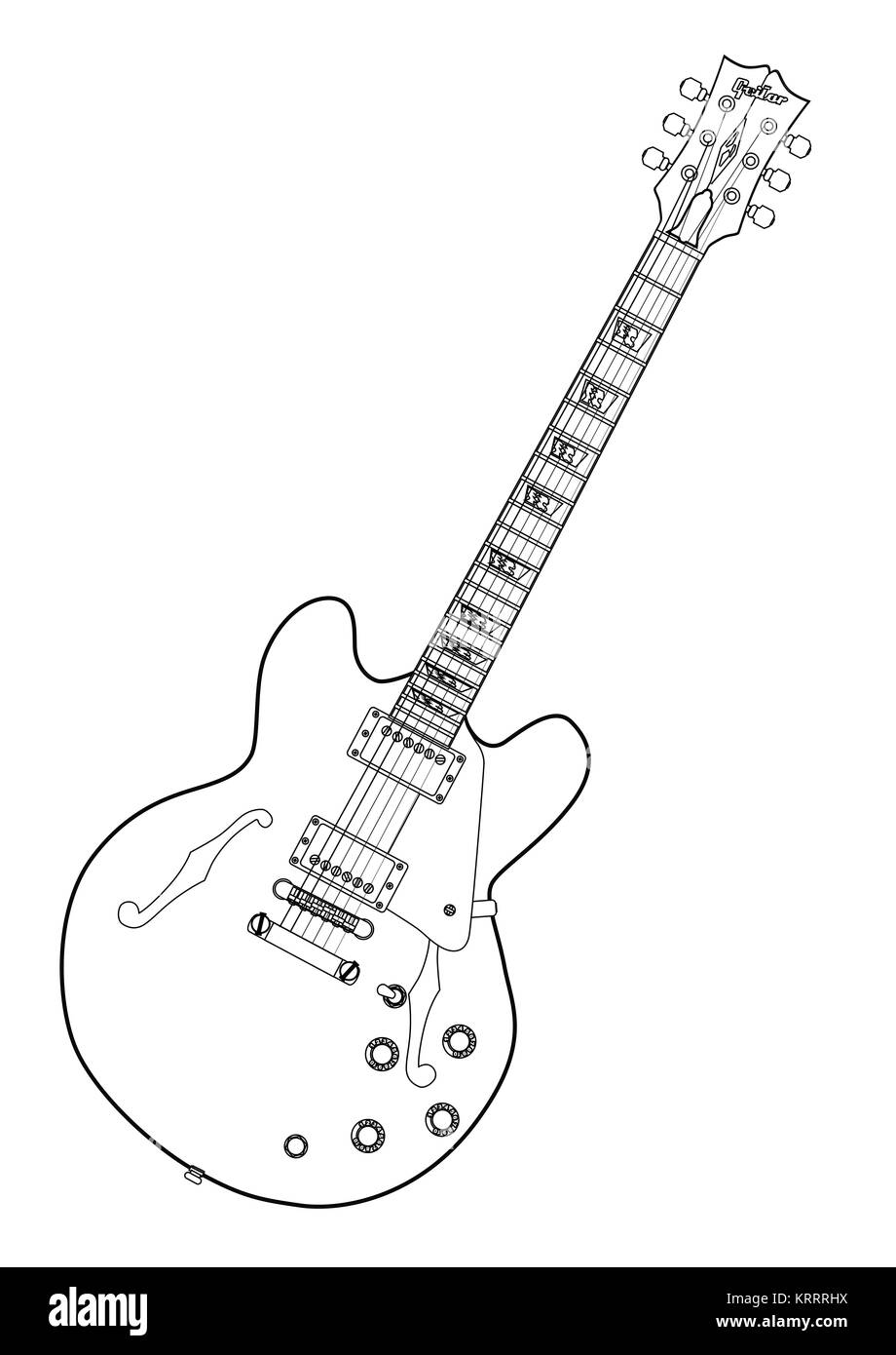 Semi Acoustic Line Drawing Stock Photo Alamy