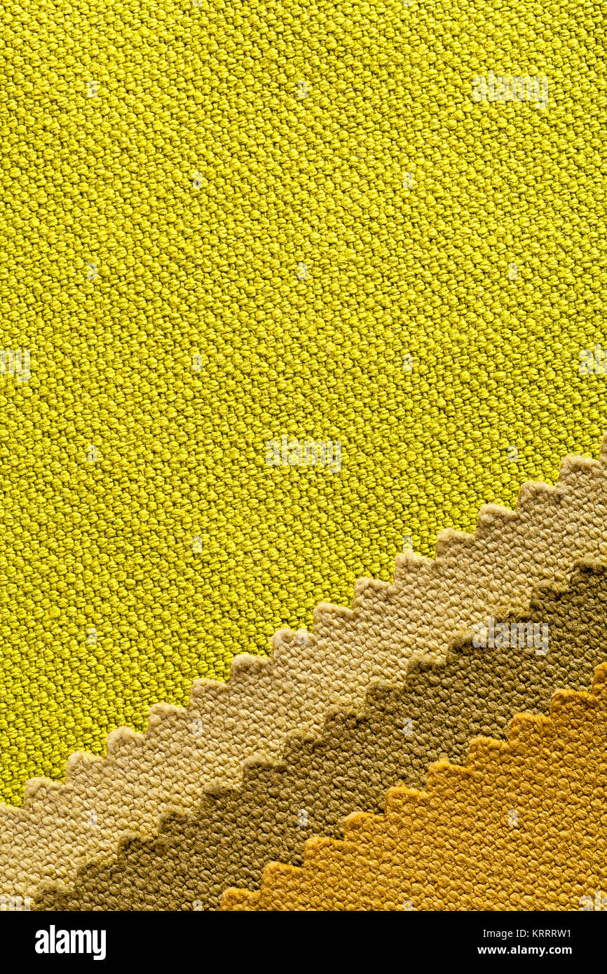 Composition of colored stripes of serrated cotton fabric Stock Photo