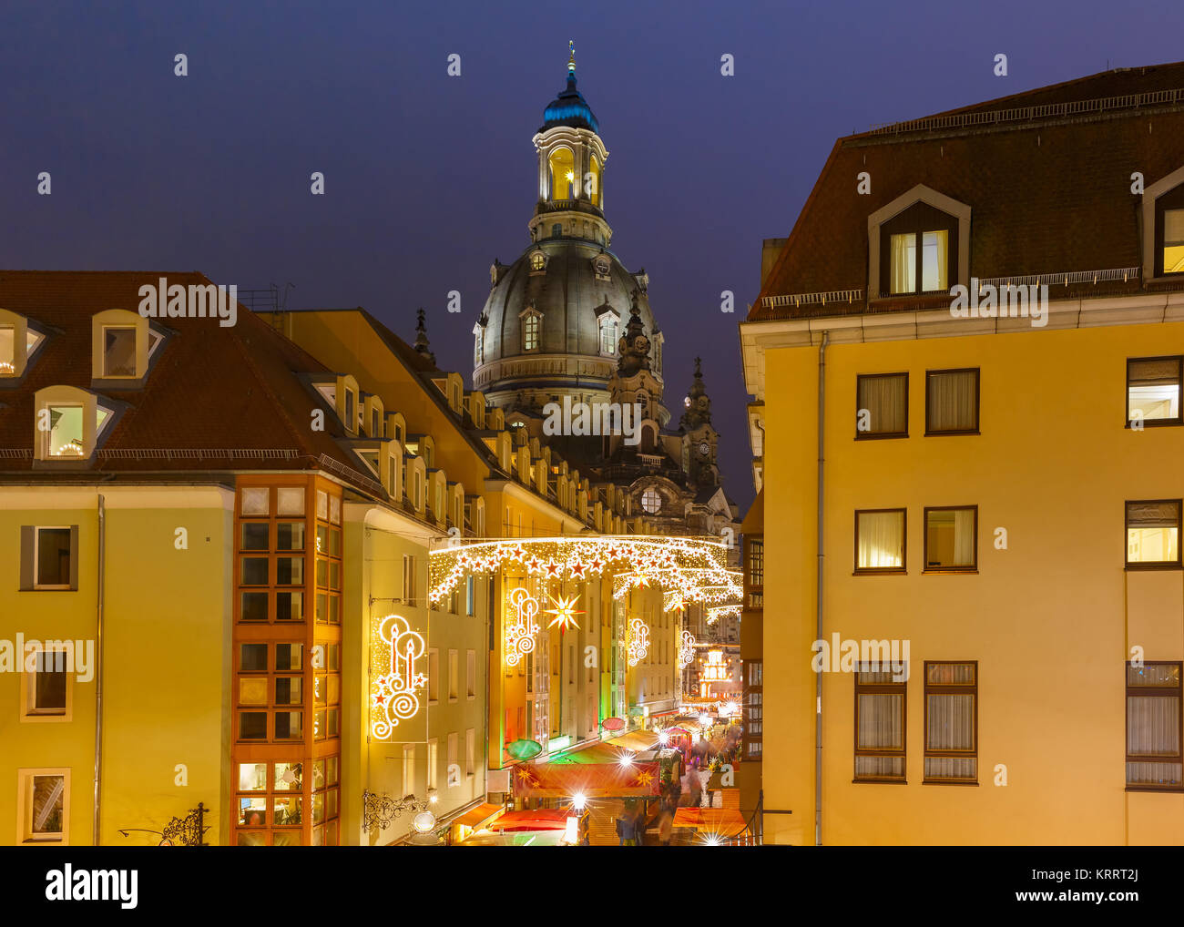 Christmas street at night in Dresden, Germany - Stock Image