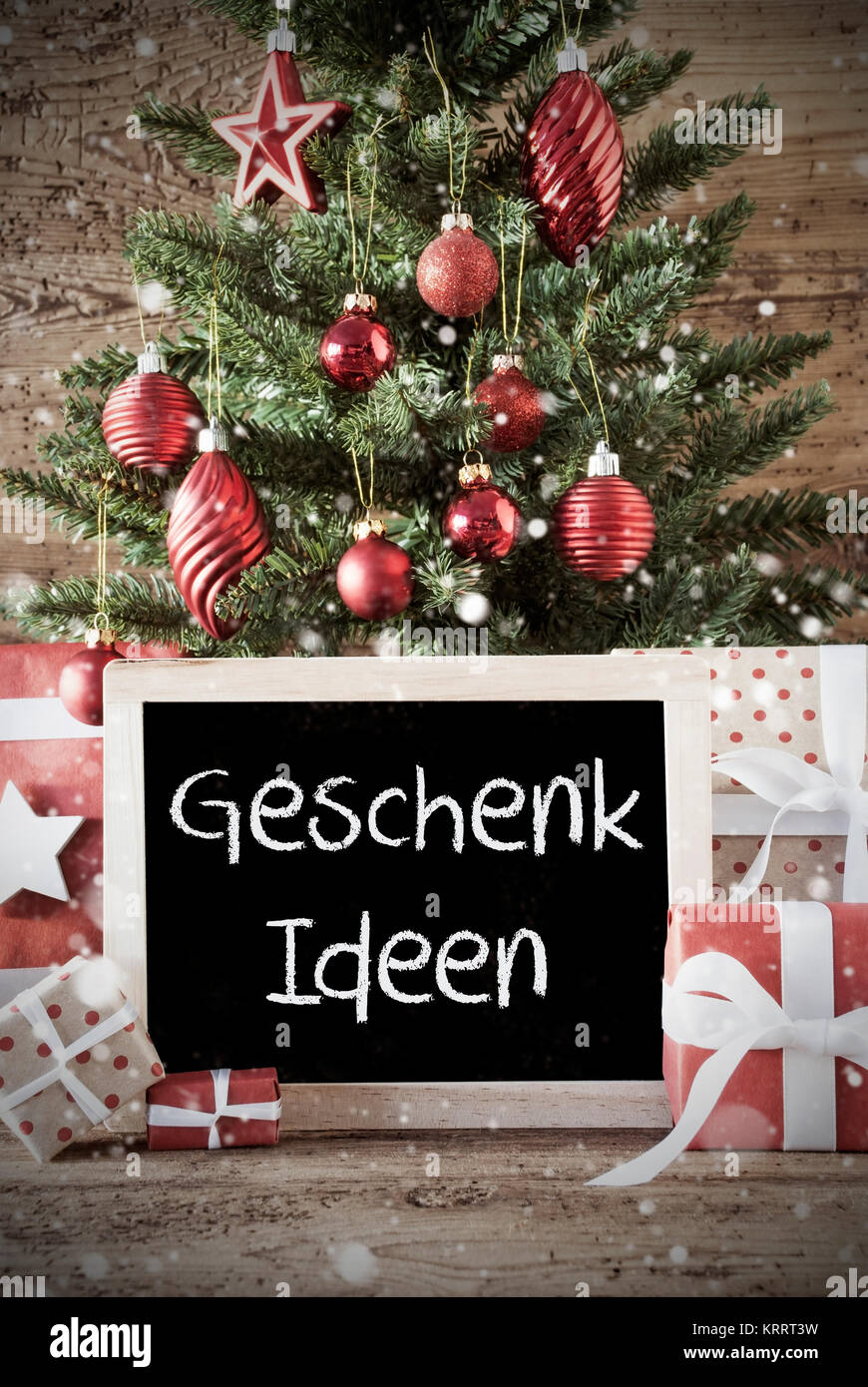 Chalkboard With German Text Geschenk Ideen Means Gift Ideas Stock Photo Alamy