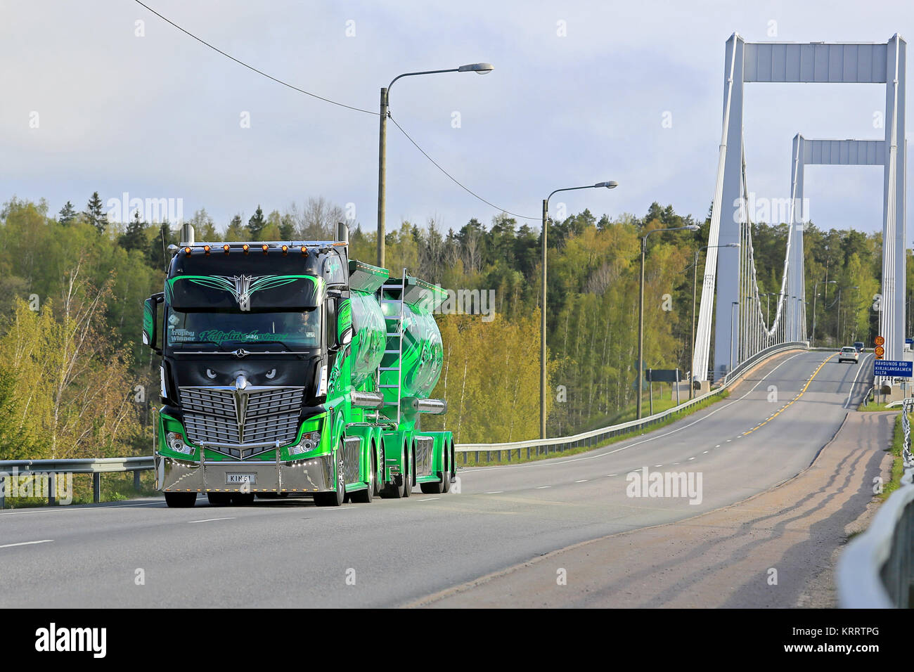 PARAINEN, FINLAND – MAY 17, 2015: Mercedes-Benz Actros 2551 Highway Hero on the road. The famous show truck owned - Stock Image