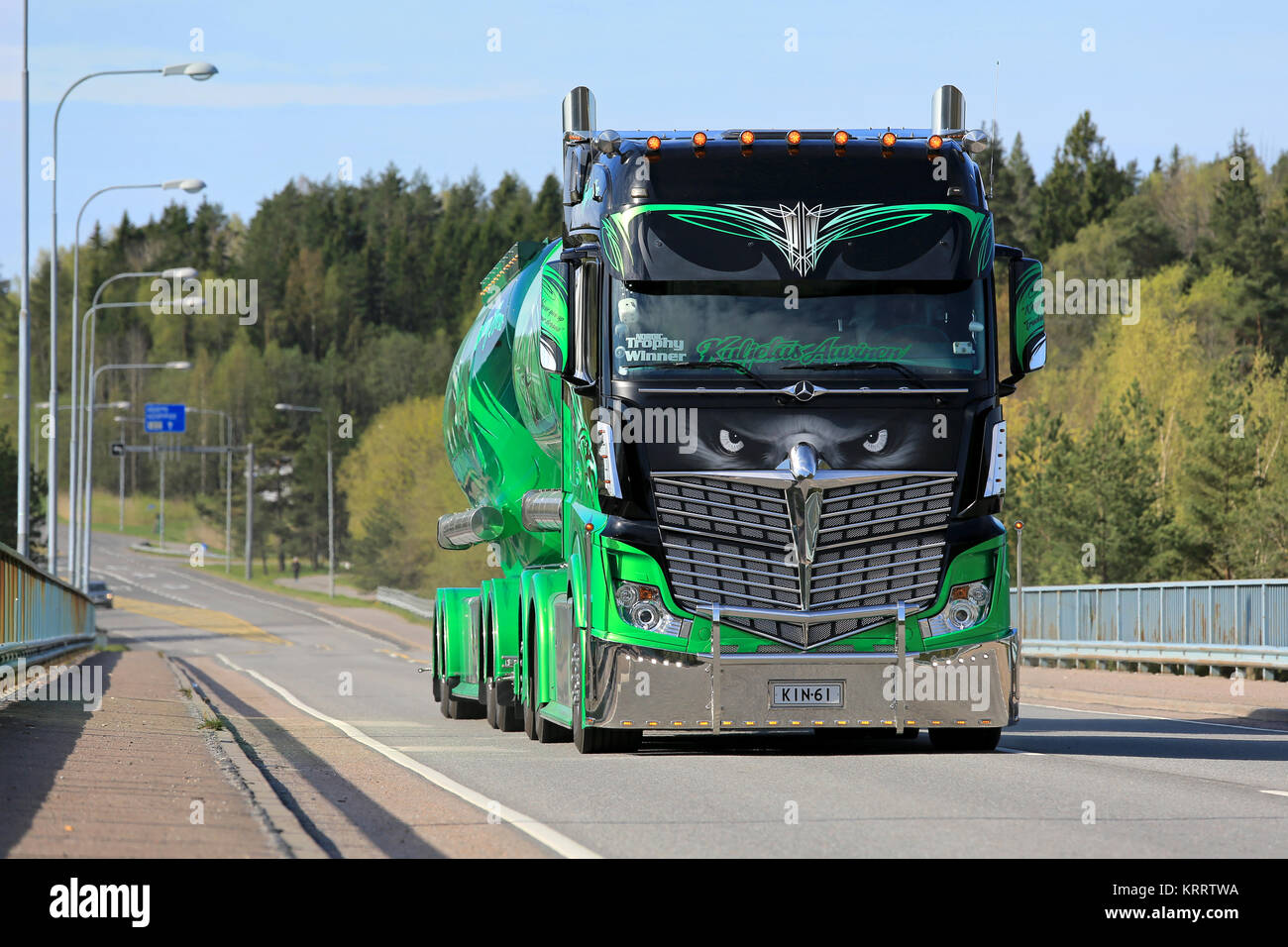 PARAINEN, FINLAND – MAY 17, 2015: The internationally famed show truck Mercedes-Benz Actros 2551 Highway Hero owned - Stock Image
