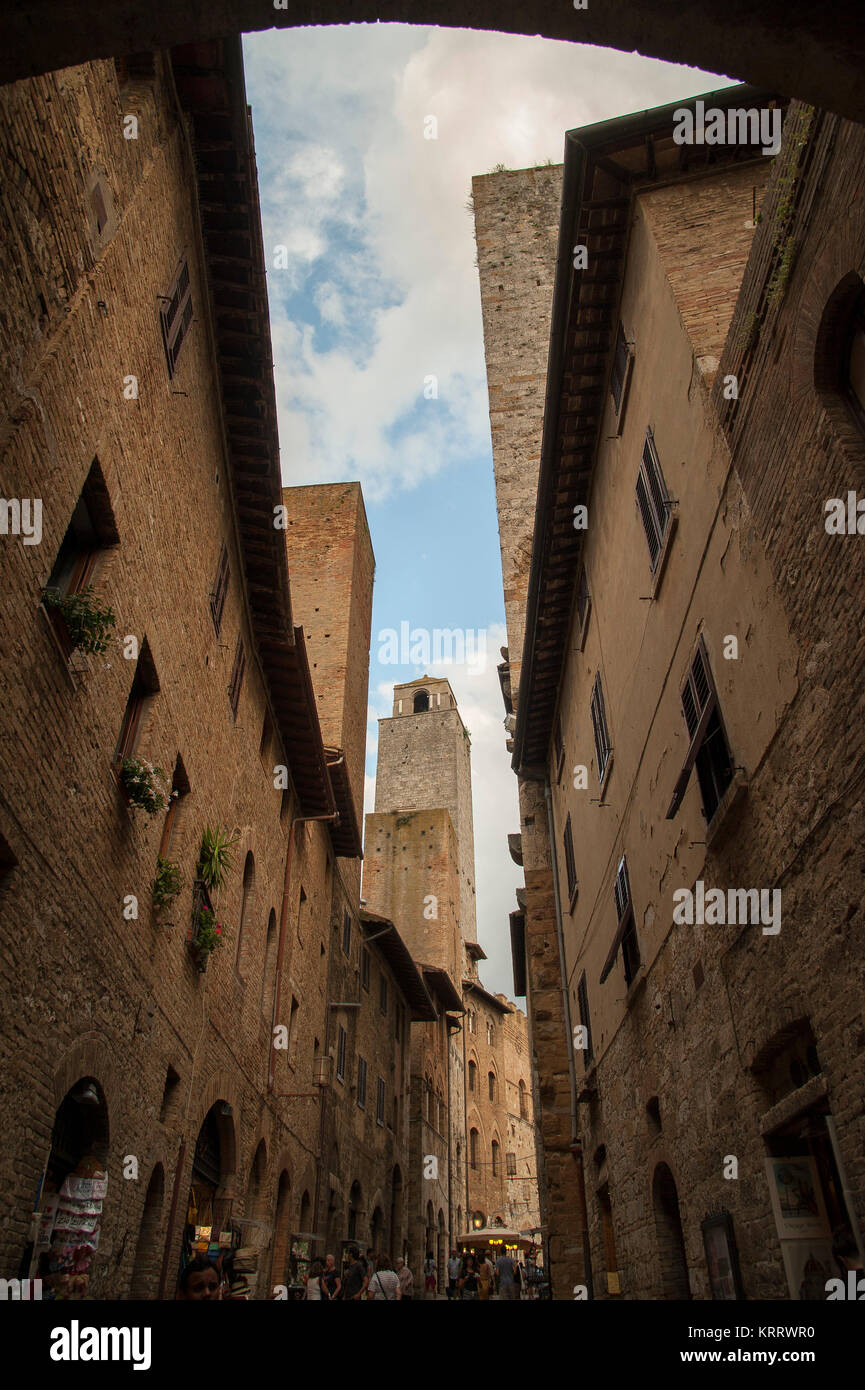 Medieval towers from XIII century, Torre Pettini, Torre Rognosa and Torre dei Salvucci in Historic Centre of San - Stock Image