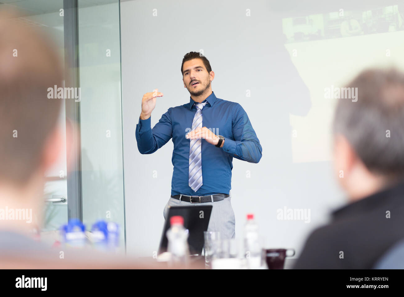 Business concept and strategy presentation on corporate meeting. - Stock Image