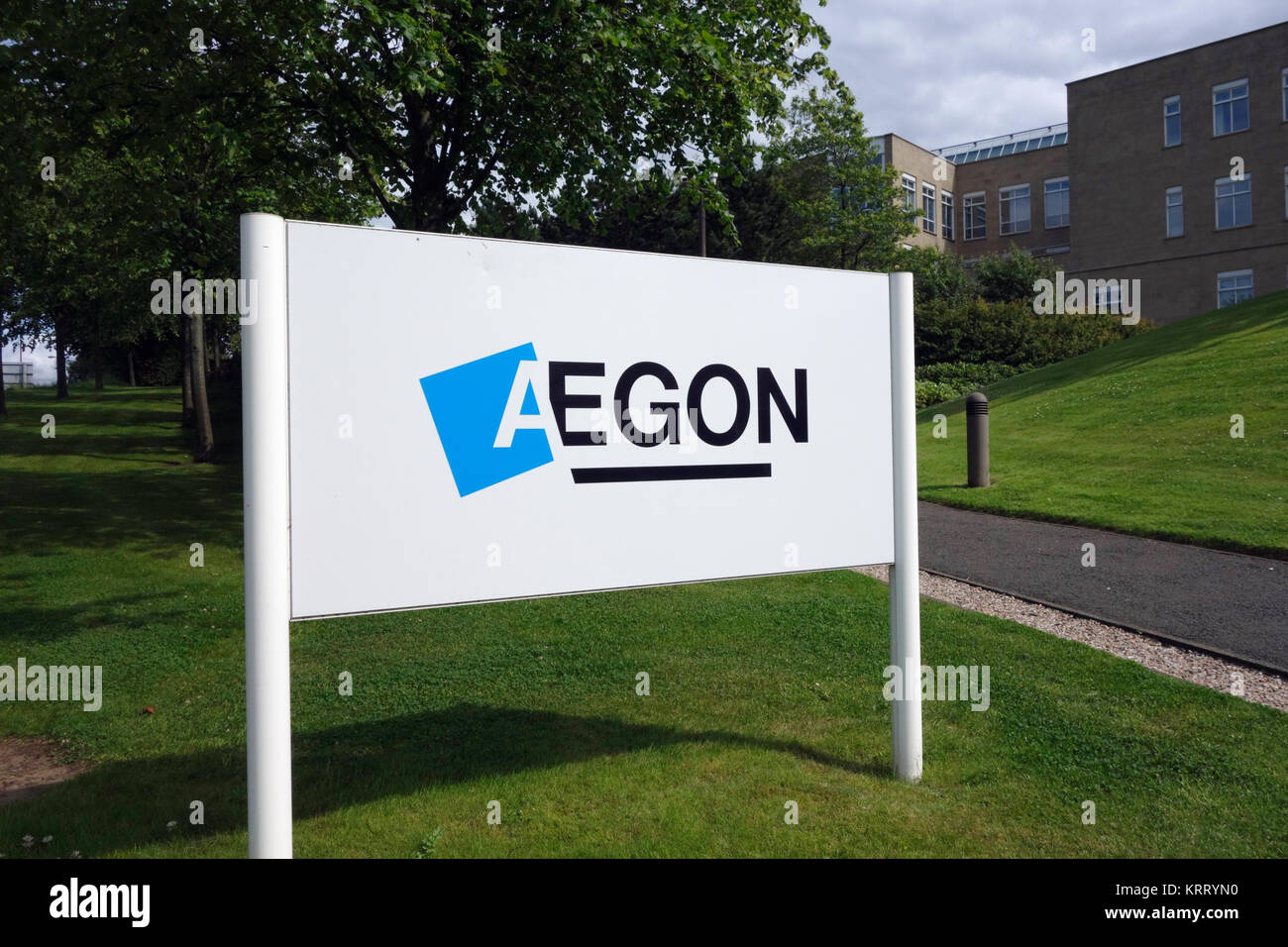 Aegon company sign outside headquarters at Edinburgh Park - Stock Image