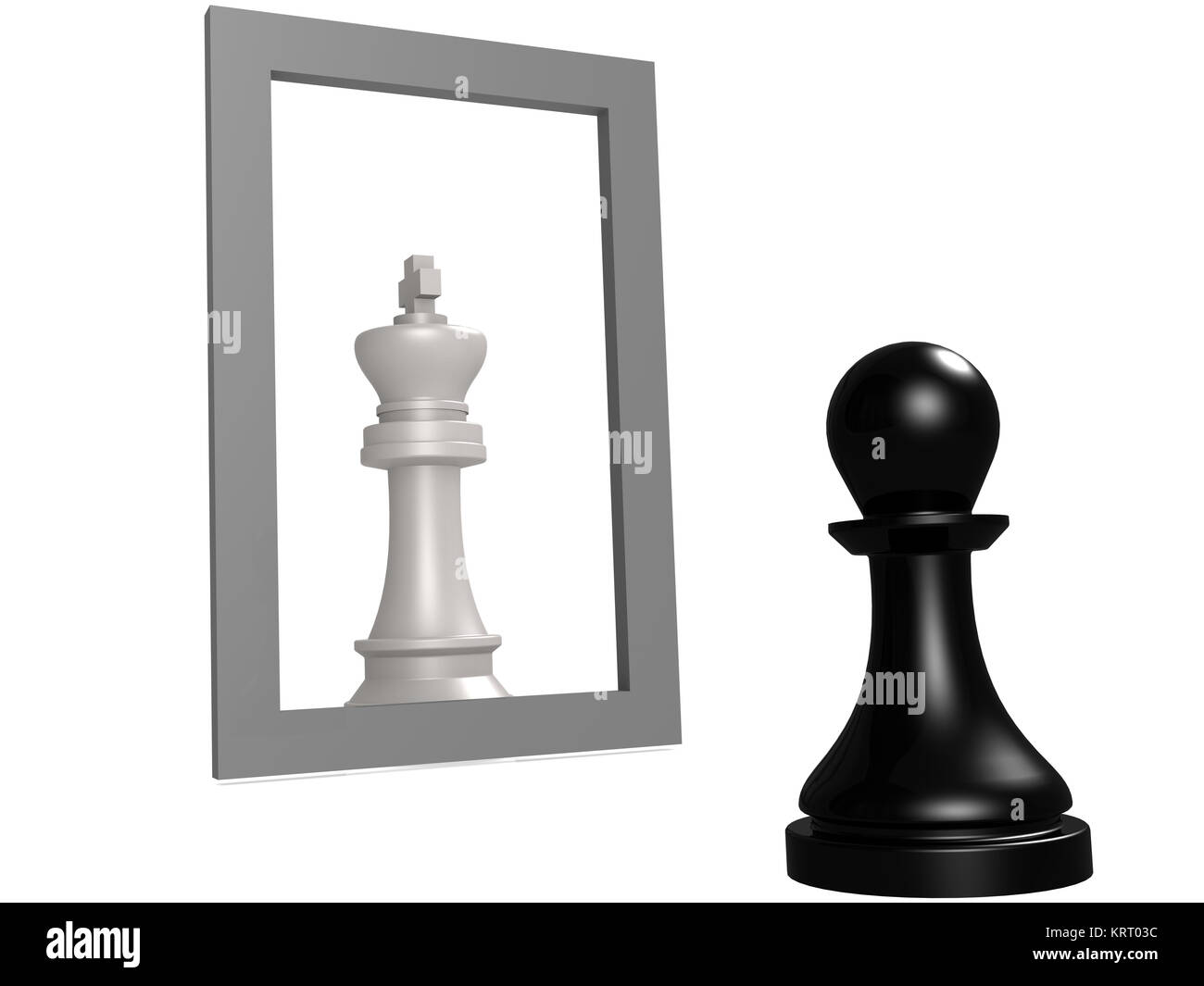 Pawn looking in the mirror seeing queen - Stock Image
