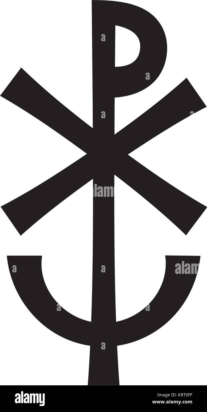 Christogram — Christian monogram of Jesus Christ, The Savior, The Lord Our God. (Ancient Medieval monogram). - Stock Vector