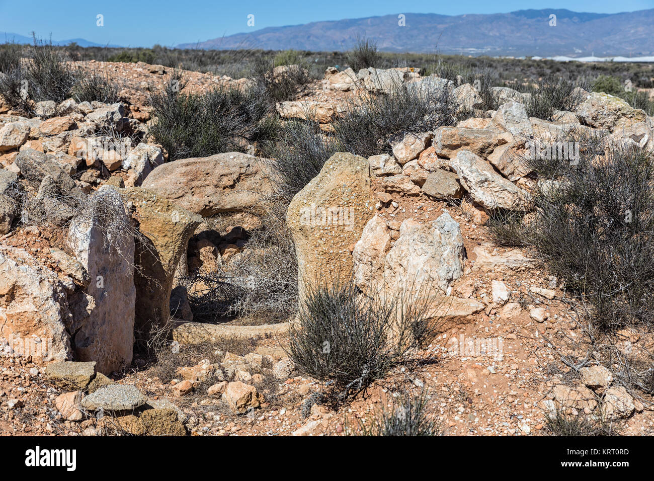 Megalithic Necropolis of El Barranquete. This necropolis, located in the municipality of Nijar and belonging to - Stock Image