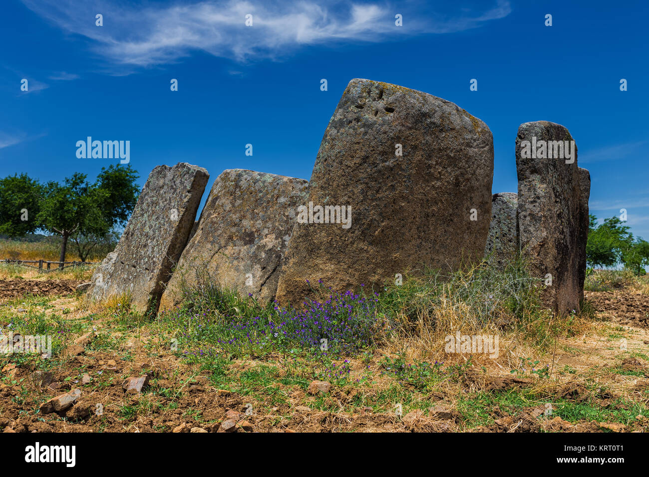 This prehistoric dolmen is located next to Magacela. Extremadura. Spain. - Stock Image