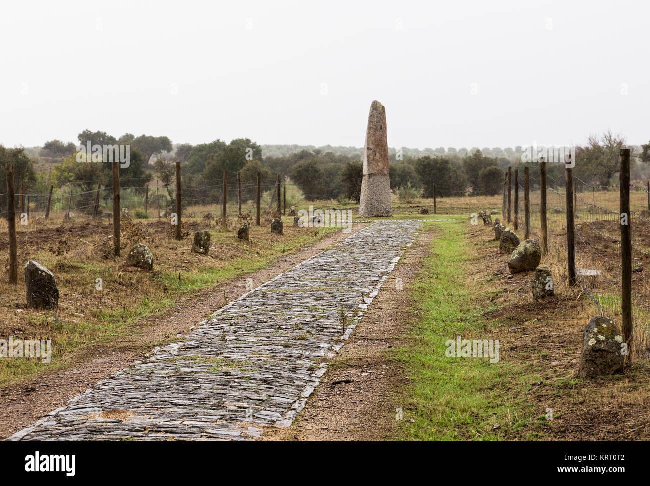Megalithic monument. The Menhir of Belhoa (Menhir de Belhoa) is single standing stone near Monsaraz in Portugal - Stock Image