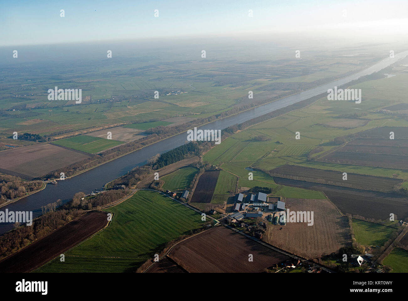 Nord-Ostsee-Kanal, Aerial view. - Stock Image