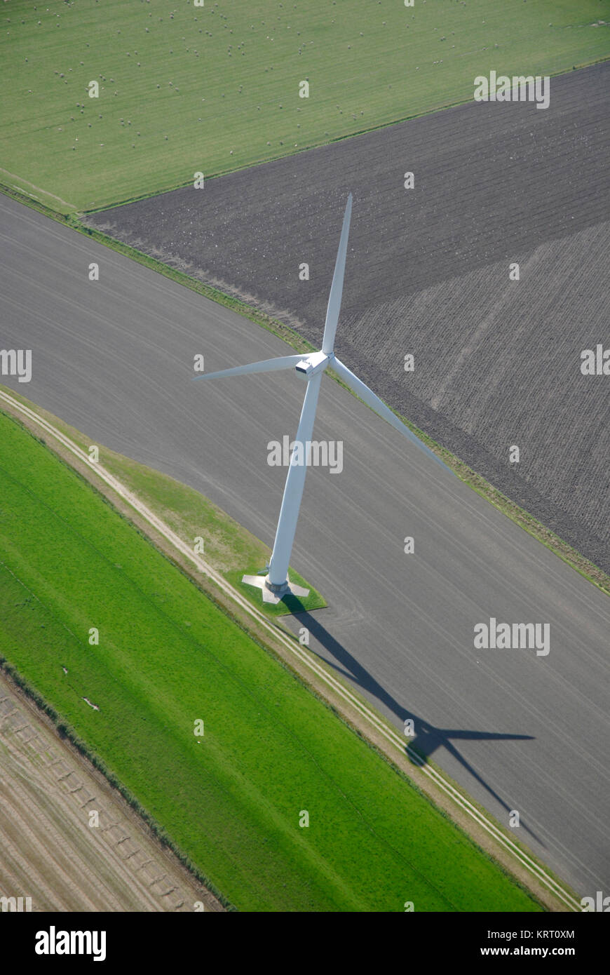 Aerial view of a wind turbine in northern Germany - Stock Image