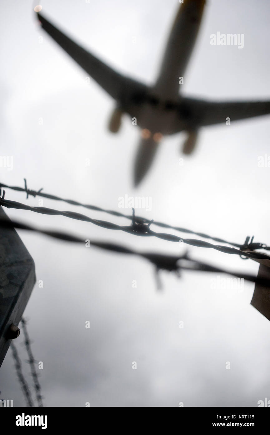 Symbolic photo for escape, expulsion, illegal, asylum, crime etc. - Stock Image